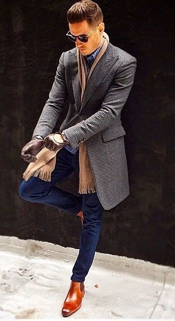 brown chelsea boots outfit uomo