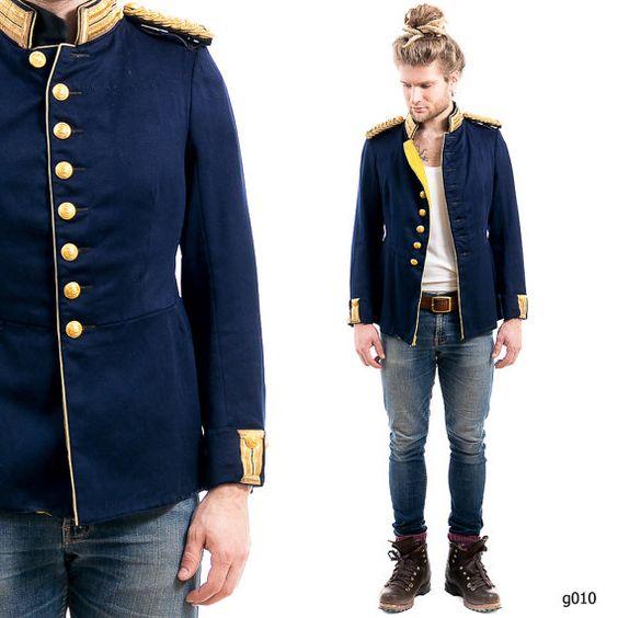 ANTIQUE Mens 1910s Uniform . Band MARCHING Jacket Vintage Swedish