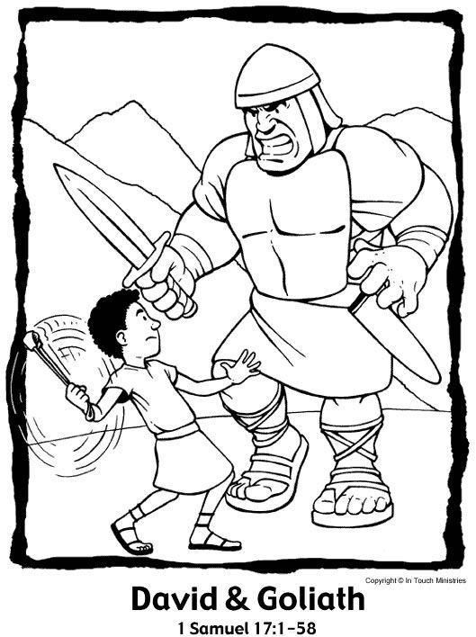 David Jonathan Coloring Pages Goliath And Bible Page To Print Awana Free Printable