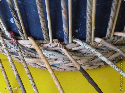 minta Мастер-класс Поделка изделие Плетение Корзины для овощей - Бумага газетная Трубочки бумажные фото 11