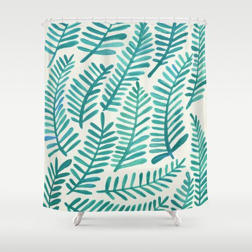 Green Fronds Shower Curtain: