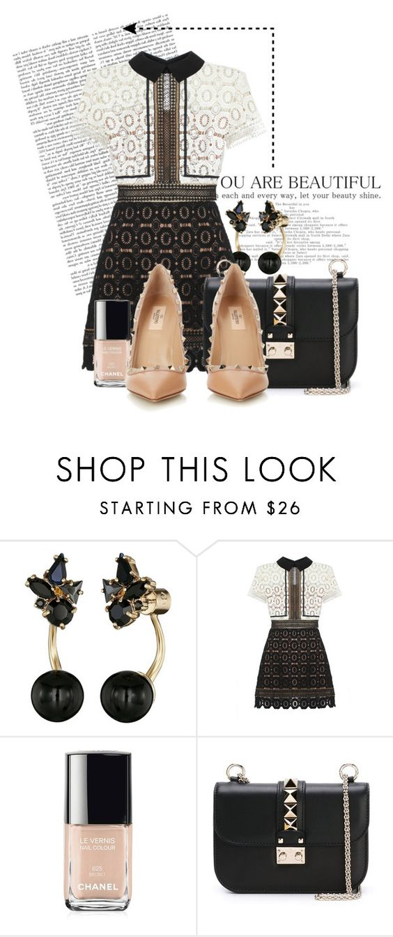 """""""Untitled #896"""" by barneythecamel ❤ liked on Polyvore featuring Kate Spade, self-portrait, Chanel, Valentino, women's clothing, women, female, woman, misses and juniors"""