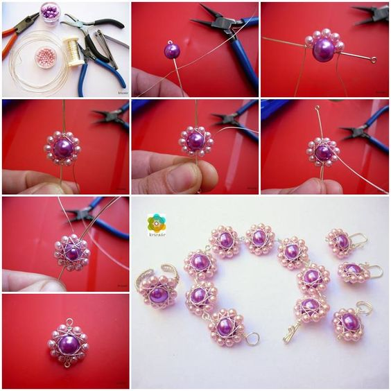 How to make beautiful Beads or Pearl Flowers DIY tutorial instructions, How to, how to do, diy instructions, crafts, do it yourself, diy website, art project ideas