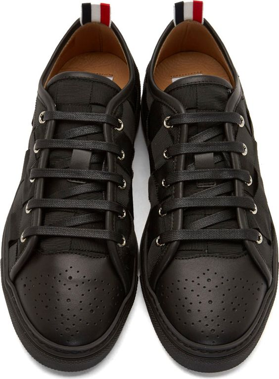 Thom Browne Black Leather & Grosgrain Woven Sneakers