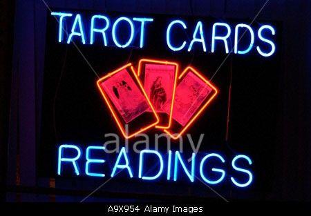 Tarot Cards Readings Neon Sign Stock Photo