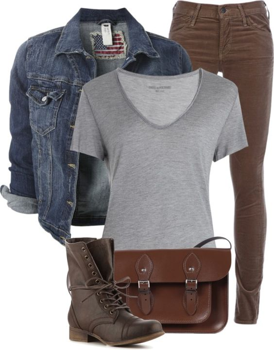 """Jean Jacket, Grey T-Shirt, and Brown Jeans"" by fashion-766 on Polyvore"