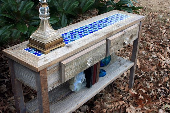 Sofa Table With Glass Mosaic Tile Inlay Rustic