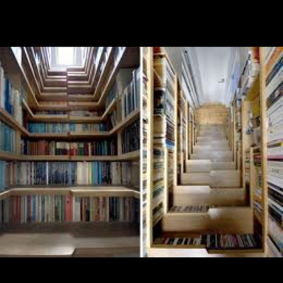 Staircase and bookshelves