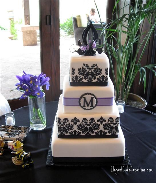purple and black wedding cake