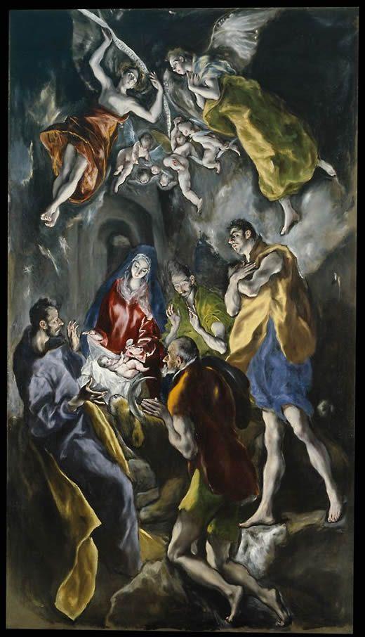 """Domenico Thetokopulo """"el Greco"""" ADORACIÓN DE LOS PASTORES (1612 - 1614). Museo Nacional del Prado. óleo sobre tela, 319 x 180 cm."""