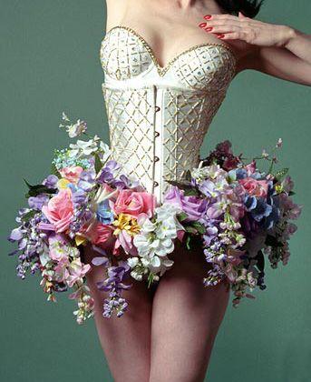 Dita Von Teese wears a floral tutu