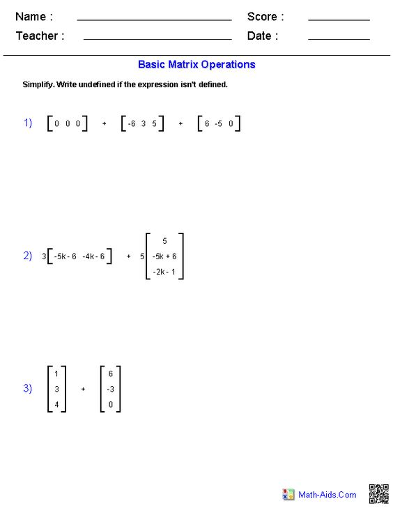 Worksheet Matrices Worksheets basic matrices worksheets math aids com pinterest worksheets