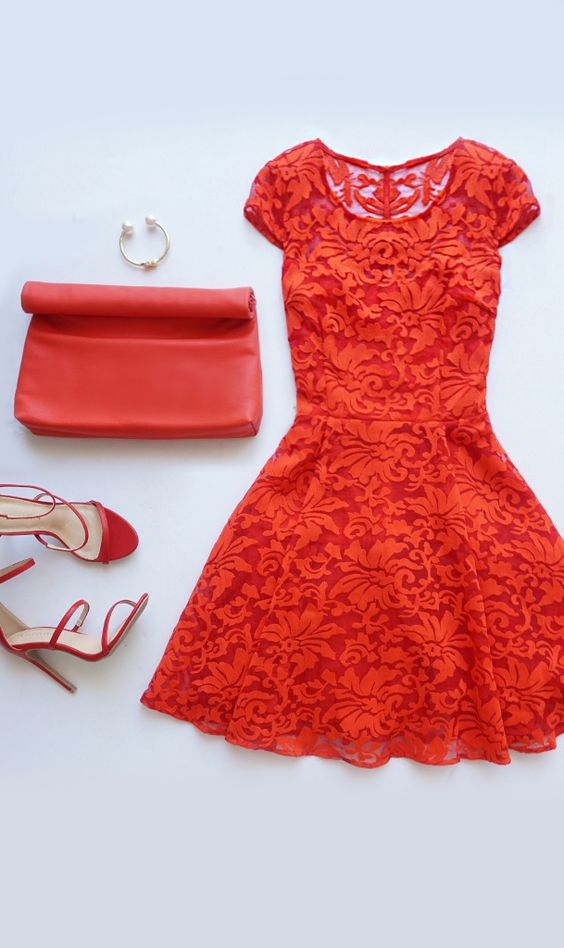 Some Like It Haute Coral Red Jacquard Skater Dress Lace