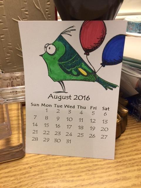 Crazy Birds Mini Calendar Aug 2016