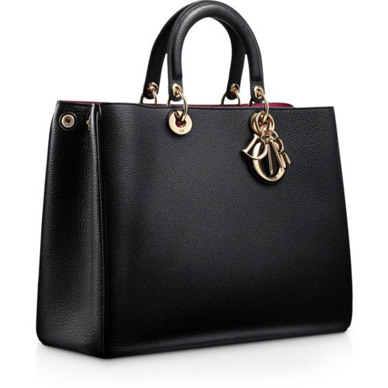 Dior 'Diorissimo' Large Leather Two Handle Black Bag