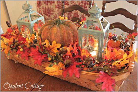 Opulent cottage harvest basket centerpiece fall