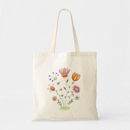 Simple Watercolor Folk Art Flowers Tote Bag Zazzle Com Floral