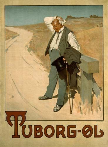 Vintage Advertising Art | Advertising art - Advertising board for Tuborg beer, 1900 of Erich ...