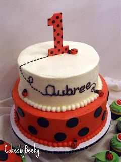 Ladybug birthday cake.  The bottom tier would be cute combined w/ the other ladybug cake that I pinned in amazing cakes.: