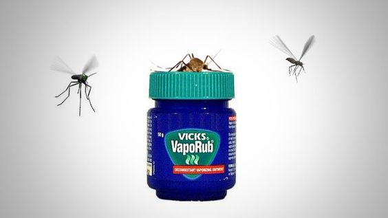 Even dabbing a tiny amount of Vicks VapoRub on your skin can keep mosquitoes away because it contains eucalyptus oil, camphor, and menthol, which all naturally repel mosquitoes.: