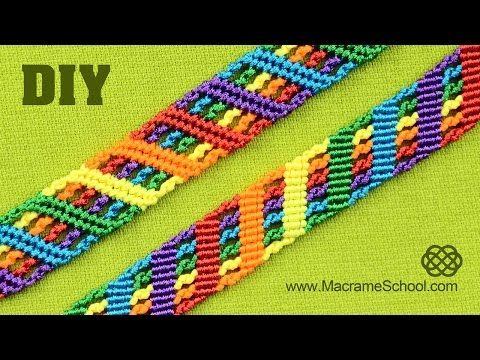 Colorful Rainbow Bracelet Tutorial | Macrame School - YouTube