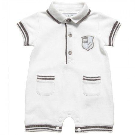 Piccolo Amore - White Cotton Romper with Heart Print   CHILDRENSALON
