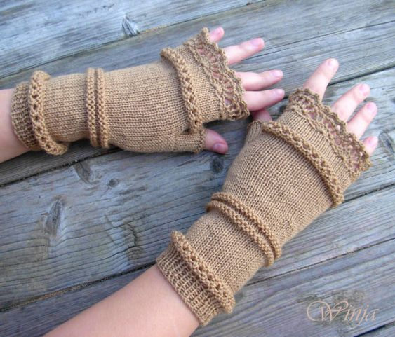 Knitted gloves, fingerless gloves, knitted mittens, arm warmers, beige gloves, boho mittens, wool gloves, boho gloves, hand knit gloves