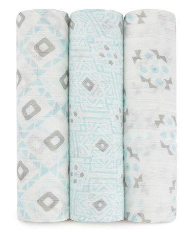 Loving this Blue Sleepy Seychelles Muslin Swaddling Blanket - Set of Three on #zulily! #zulilyfinds