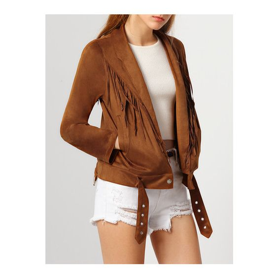 SheIn(sheinside) Brown Long Sleeve Tassel Jacket (120 RON) ❤ liked on Polyvore featuring outerwear, jackets, brown, long sleeve jacket, brown jacket, collar jacket, short jacket and tassel jacket