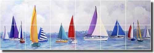Details About Harris Nautical Sailboats Ceramic Tile Mural