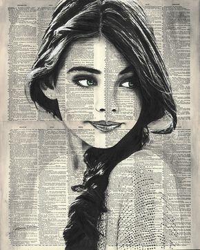 Frauenportrat 2 16 X 20 Original Tusche Aquarell Auf Buchseiten