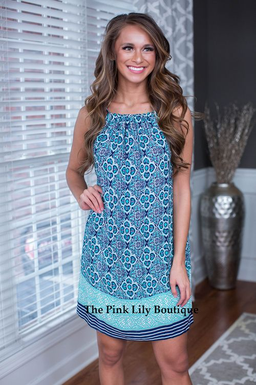 We are loving this Set The Pace Dress! From the shades of mint and blue to the intricate detail, we just can't get enough! Wear out on the town or take it with you on vacation!