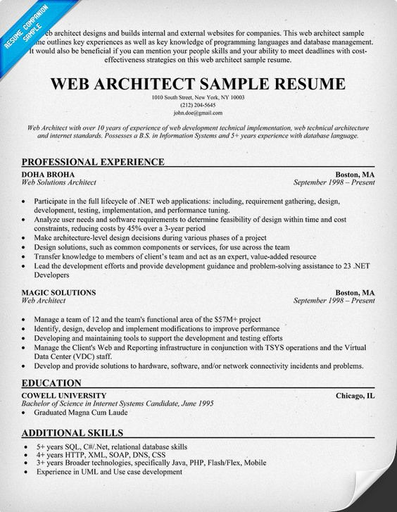 Web #Architect Resume (resumecompanion) Resume Samples - web resume examples