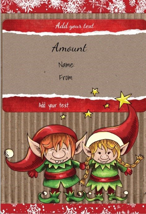 Free printable gift certificate template with two cute elves ART - free printable gift certificate templates online