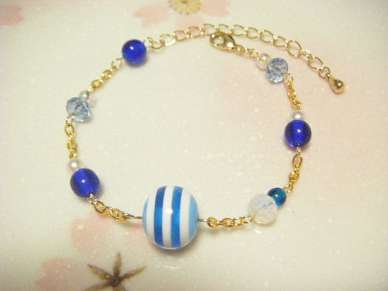 Blue bracelet blue beads and chainmaille bracelet by Coloramelody, $5.50