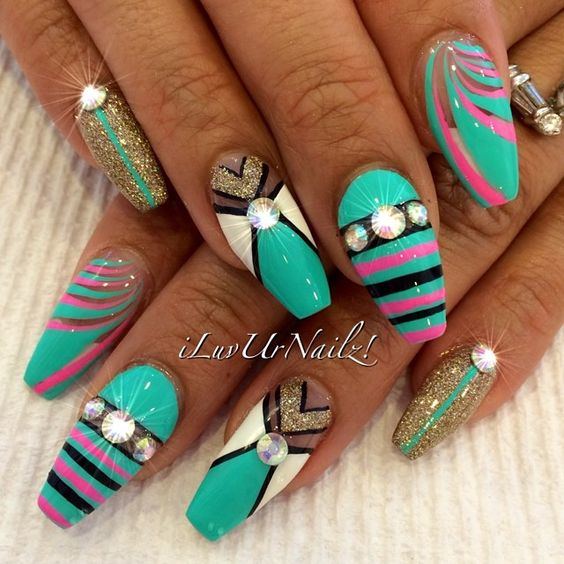 Turquoise Stiletto Nail Art: #ShareIG Turquoise, White, Gold, Black & Pink... Love How
