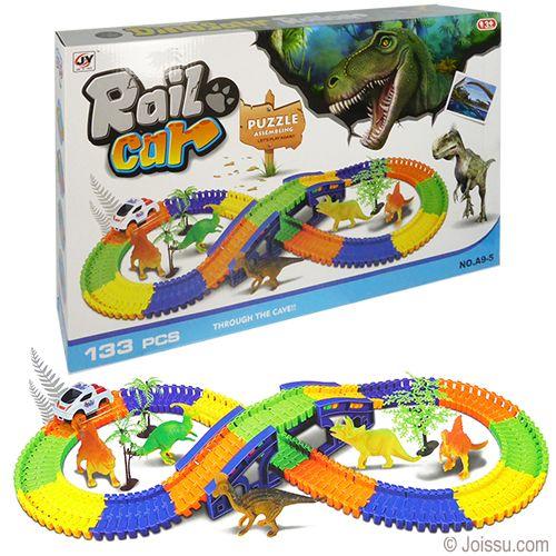 133 Piece Rail Car Dino Race Track Sets Rail Car Race Track Toys For Boys