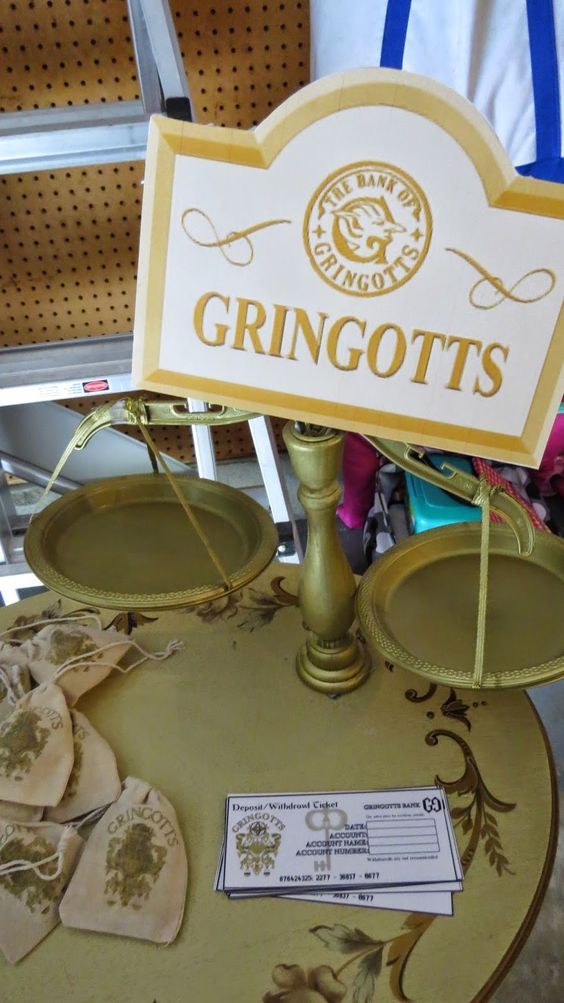 A Crafty Chick: Diagon Alley - Gringotts Wizarding Bank, amazing DIY scale for Harry Potter party decorations.