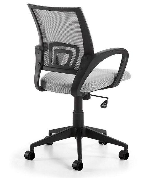 Silla de oficina Ebor en color gris, moderna y juvenil. Tejido de malla transpirable y estructura de polipropileno