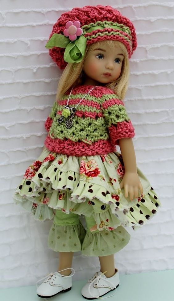 Sage & Pink Outfit Set For 13 Effner Little Darling by Barbara: