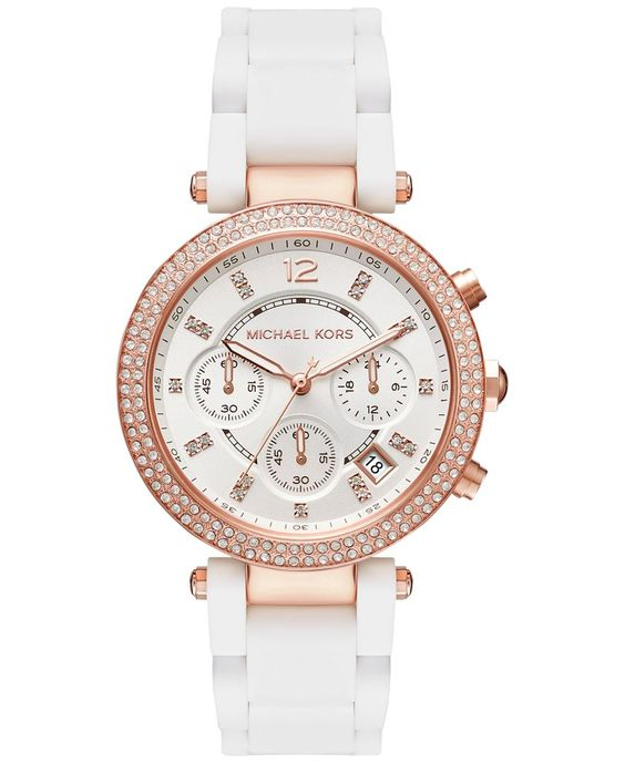 Michael Kors Women's Chronograph Parker White Silicone Wrapped Rose Gold-Tone Stainless Steel Bracelet Watch 39mm MK6405