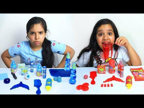 تحدي الأكل الأحمر ضد الأزرق Red Food Vs Blue Food Challenge شفا Shfa Youtube Food Challenge Red Food Blue Food