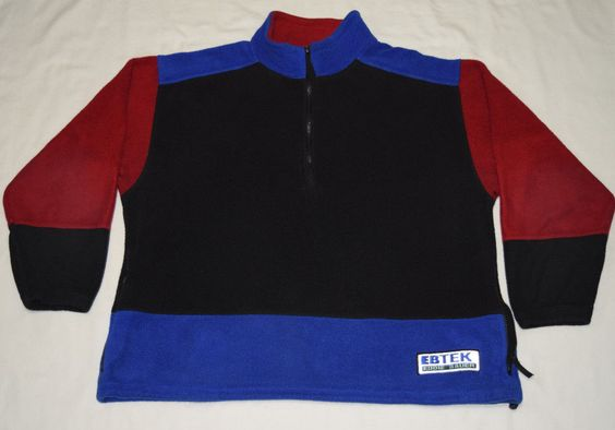 Rare Vintage 90s EBTEK Eddie Bauer Mens Fleece Top Sweatshirt Large Made in USA  #EddieBauer #FleeceTops