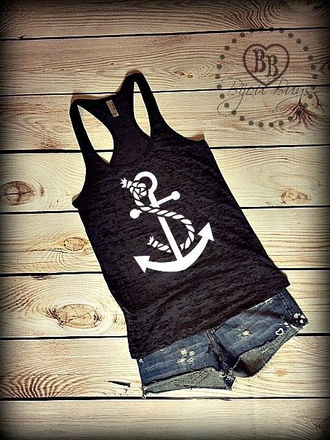 Anchor Tank - Beach - Boat tank - Summer Tank - Anchor with rope design on Racerback, Burnout Tank Top- Sizes S-XL. Other Colors Available