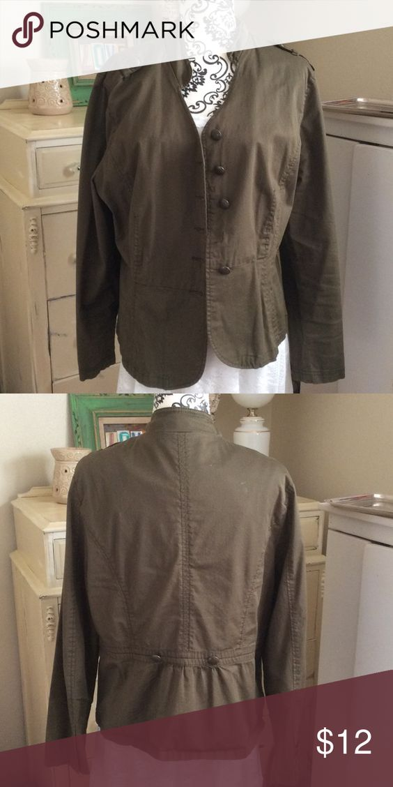 Military style jacket Cute Army green military jacket. This is a re-posh. It's too big for me and I hate it because this is so cute and on trend. One of the front buttons is missing and the price reflects this.  It is NOT lined. Great jacket! Jackets & Coats