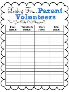 Back to School Freebie: Parent Volunteer Sign-Up Sheet   Back to ...