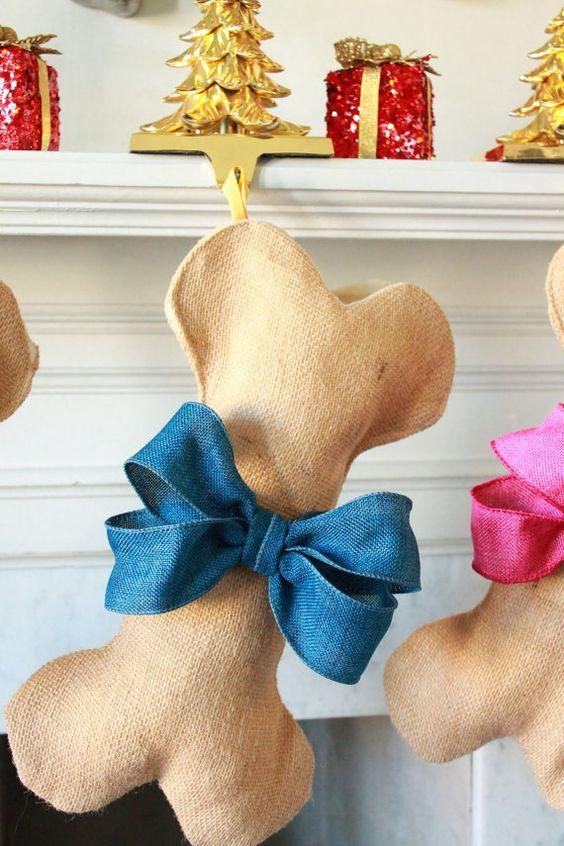 Dog Bone Christmas Stocking Unique Burlap Stocking Gifts