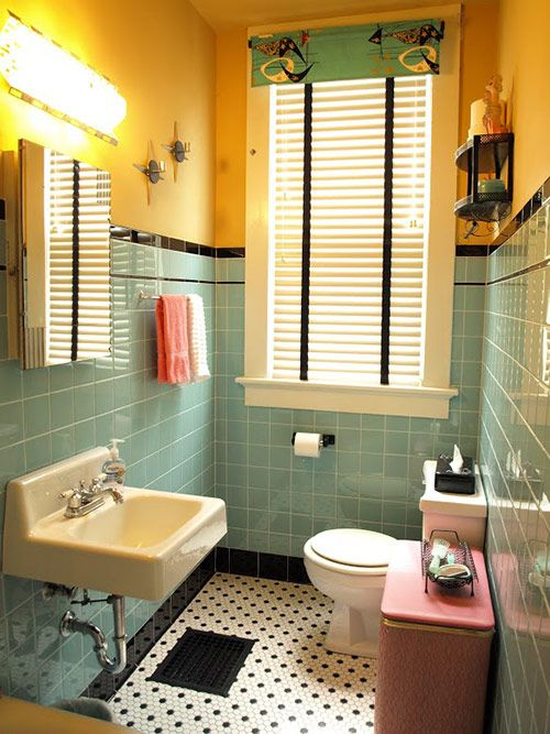 Cindy waits 28 years for her sunny retro bathroom remodel   Pinterest   Black tile bathrooms  Black tiles and Retro renovation. Cindy waits 28 years for her sunny retro bathroom remodel