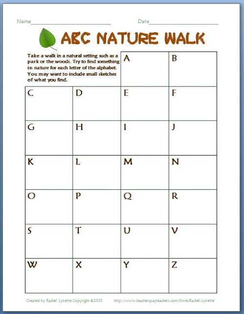 abc nature walk perfect for earth day earth day free printable and nature. Black Bedroom Furniture Sets. Home Design Ideas