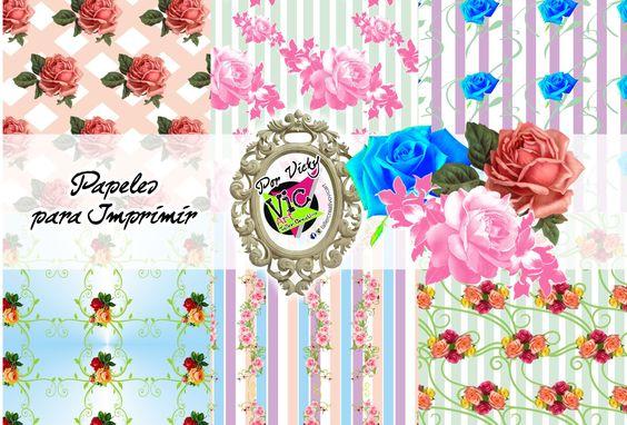 Facebook Google+ Pinterest EmailHoy les traigo estos papeles digitales de rosas…